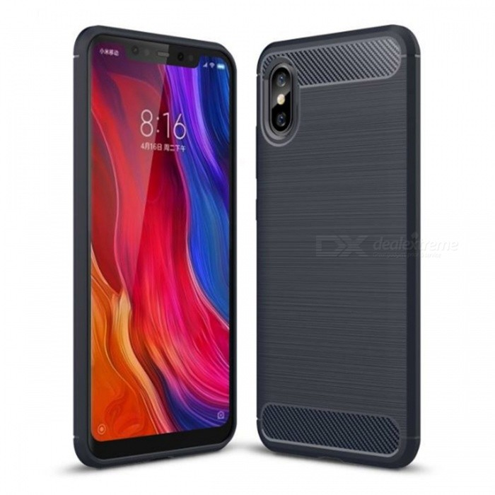 Naxtop Wire Drawing Carbon Fiber Textured TPU Brushed Finish Soft Phone Back Cover Case For Xiaomi Mi 8 Explorer Edition
