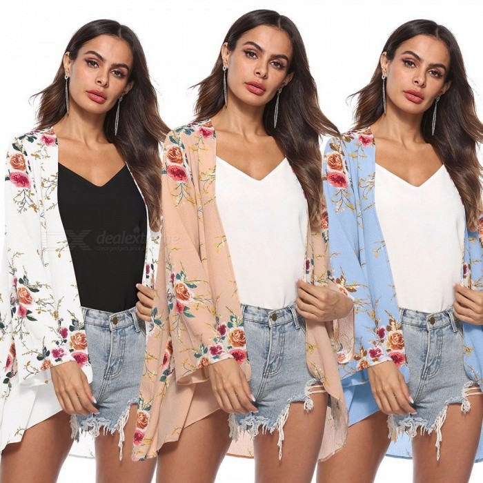 Casual Loose Flower Print Long Sleeve Cardigan Fashion Spring Autumn Tops Jacket Coat Irregular Long Cardigans Champagne/XL