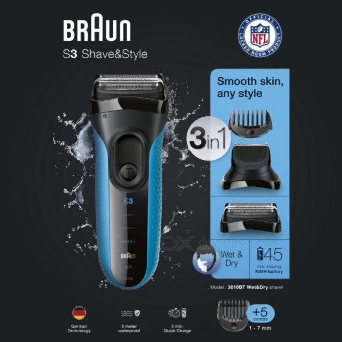 Buy BRAUN S3 Shave&Style 3010BT Shaver (Deep Blue) with Litecoins with Free Shipping on Gipsybee.com