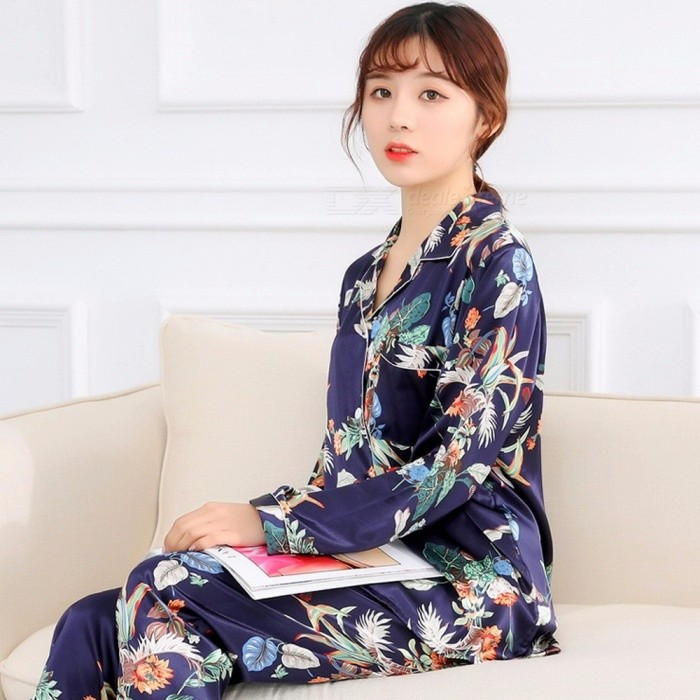 Spring Summer Floral Printed Pajamas Women Sweet Silk Homewear Long Sleeve Tops + Long Pants Trousers Two Piece Suit White/XL