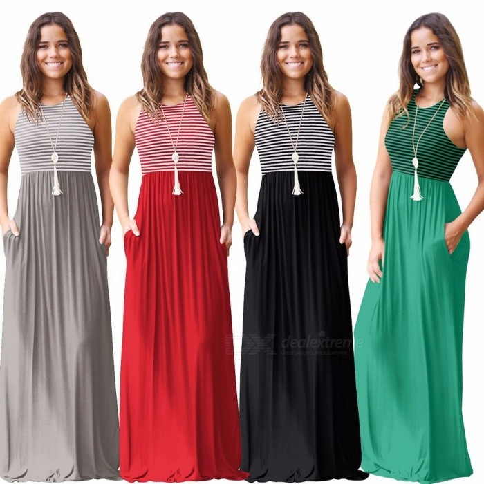 Fashion Women O Neck Slim Sleeveless Striped Long Dress Ladies Vintage Elegant Women Summer Maxi Dresses Burgundy/XL
