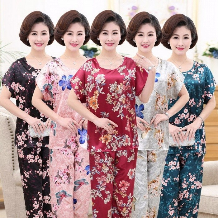 Women's Floral Print Summer Pajamas Short-sleeved Mother Pajamas Set Large Size Middle-aged Sleep Top + Ninth Pants Red/5XL