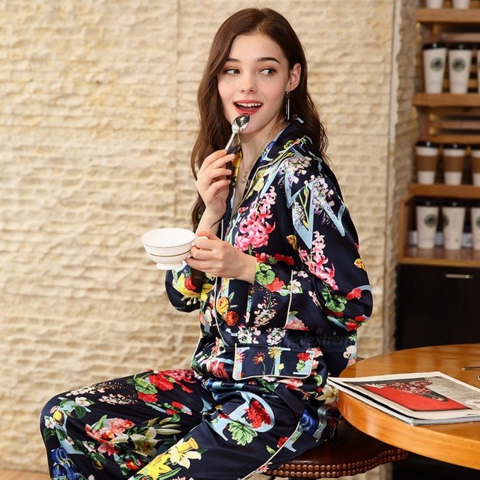 Spring Women's Soft Silk Printing Floral Letters Pajamas Long Sleeve Shirt Top + Wide Leg Pants Sleepwear Nightwear Blue/XL