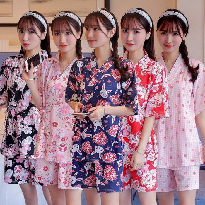 Buy Kimono Cherry Blossom Cute Rabbit Pajamas Set Kimono Suit Thin 100% Cotton Short Sleeve Top + Shorts Women Sleepwear Red/XL with Litecoins with Free Shipping on Gipsybee.com