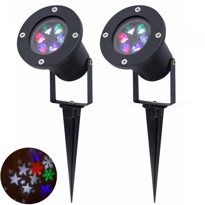 Buy YouOKLight RGB Christmas Snowflake Projector Lights Waterproof, 12W LED Auto Rotating Spotlight Lamps, EU Plug, 2Pcs with Litecoins with Free Shipping on Gipsybee.com