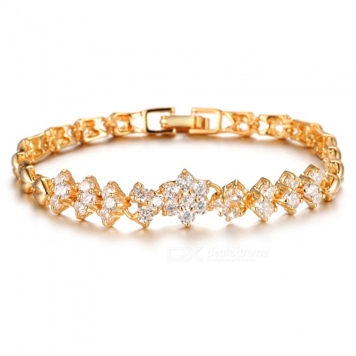XSUNI Fashion Stylish Diamond 3A Zircon Plated 18K Gold Bracelet - Gold