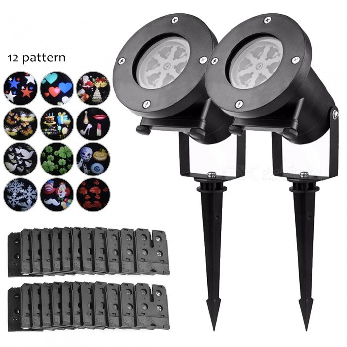 Buy YouOKLight 4W RGBW LED Projector Christmas Decoration Lawn Lights 12 Pattern Replaceable Slides, Garden Lawn Lamp, 2Pcs, EU Plug with Litecoins with Free Shipping on Gipsybee.com