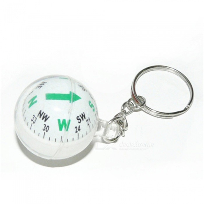 OJADE 28mm Ball Keychain Liquid Filled Accuracy Compass Camping Hiking Travel Outdoor Survival