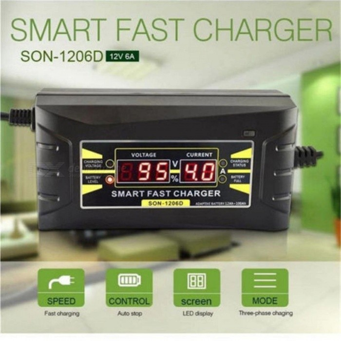 6A 12V Car Battery Charger 110V to 220V Intelligent Fast Power Charging Wet Dry Lead Acid Digital LCD Display Full Automatic