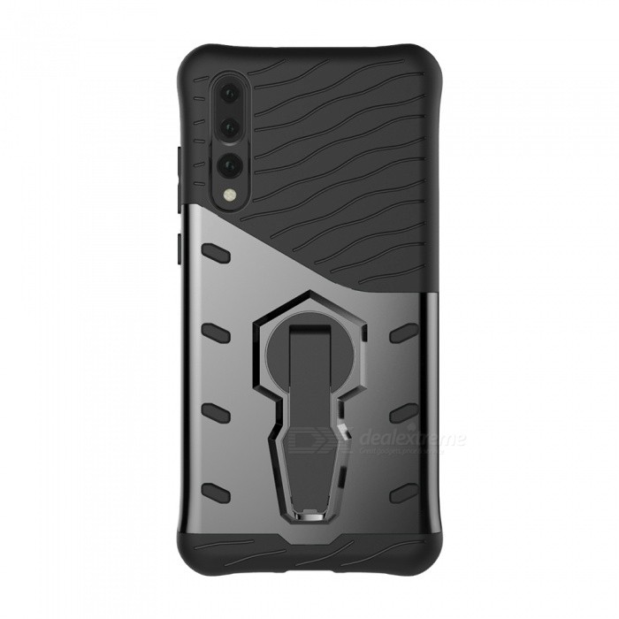 Buy TPU + PC Case w/ Holder Stand for Huawei P20 Pro - Black with Litecoins with Free Shipping on Gipsybee.com