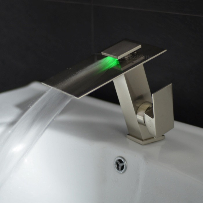 Brass LED RGB Waterfall Deck Mounted Ceramic Valve One Hole Brushed, Bathroom Sink Faucet w/ Single Handle