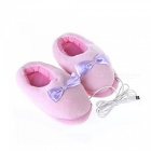 OJADE-Plush-USB-Rechargeable-Foot-Warmer-Shoes-Soft-Electric-Heating-Slipper-Pink