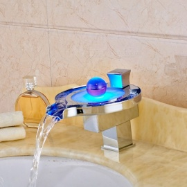 Brass-LED-RGB-Waterfall-Deck-Mounted-Ceramic-Valve-One-Hole-Chrome-Bathroom-Sink-Faucet-w-Single-Handle