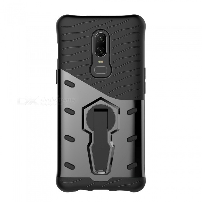 TPU + PC Case w/ Holder Stand for Oneplus 6 - Black for sale in Bitcoin, Litecoin, Ethereum, Bitcoin Cash with the best price and Free Shipping on Gipsybee.com