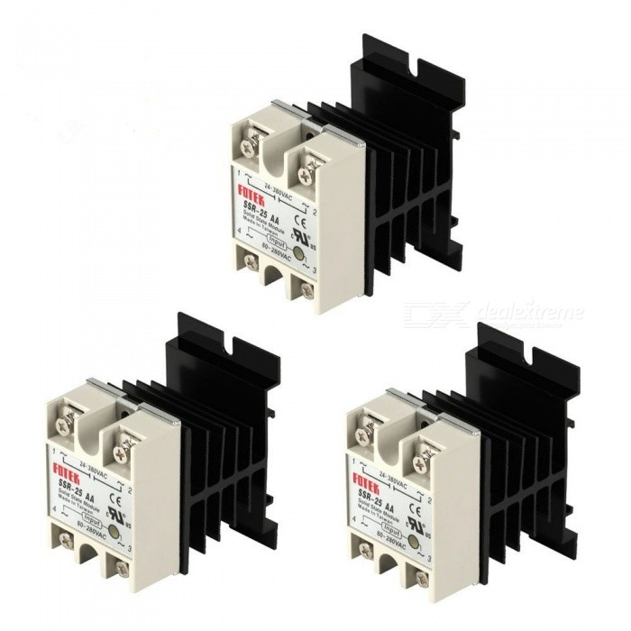Buy BTOOMET 3PCS SSR Solid State Relays + 3PCS Heatsinks Input 80-280VAC Output 24-380VAC Machinery with Litecoins with Free Shipping on Gipsybee.com