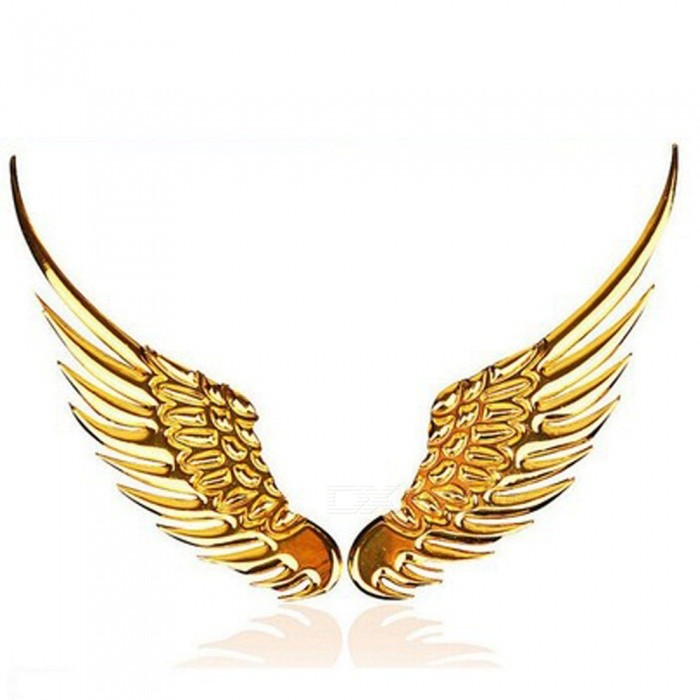Buy OJADE Car Styling Universal 3D Metal Vintage Angel Wings Pattern Car Emblem Sticker - Golden with Litecoins with Free Shipping on Gipsybee.com