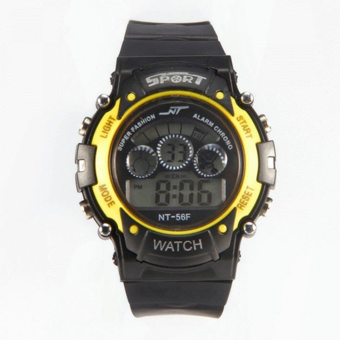 56F LED Nightlight Sport Rubber Watch w/ Alarm, Chronograph, Stopwatch, Date Display for Kid Child Boy Girl Student - Yellow