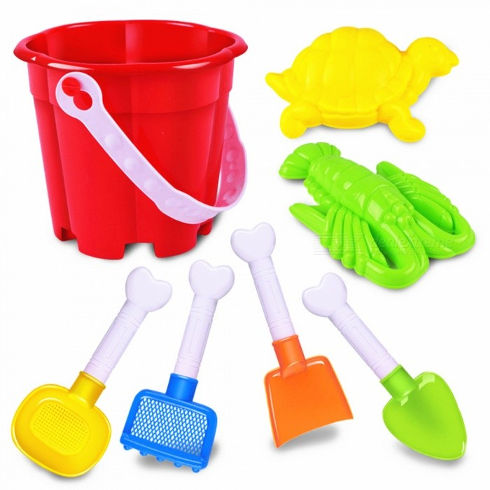Buy Kids Children Seaside Bucket Shovel Rake Kit Building Turtles / Lobsters Molds Funny Sand Water Beach Play Toys 7pcs/Set with Litecoins with Free Shipping on Gipsybee.com