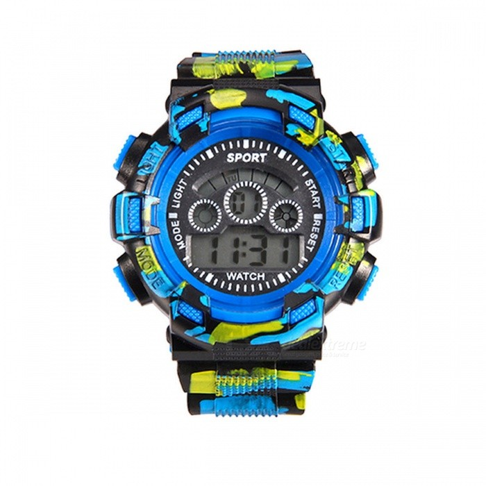 171-7 LED Nightlight 30M Waterproof Sport Rubber Watch w/ Alarm, Chronograph, Stopwatch, Date Display for Kid Boy Girl - Blue