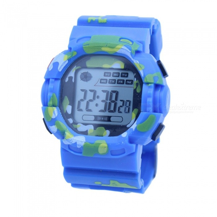 LED Light Camouflage Sport Rubber Watch w/ Alarm, Chronograph, Stopwatch, Date Display for Child Boy Girl Student - Blue