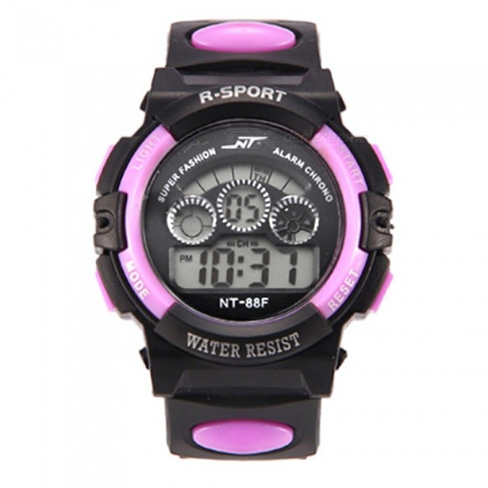 88F LED Nightlight 30M Waterproof Sport Rubber Watch w/ Alarm, Stopwatch, Date Display for Kid Child Boy Girl Student - Purple