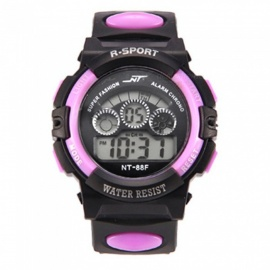 88F LED Nightlight 30M Waterproof Sport Rubber Watch w/ Alarm, Stopwatch, Date Display for Kid Child Boy Girl Student
