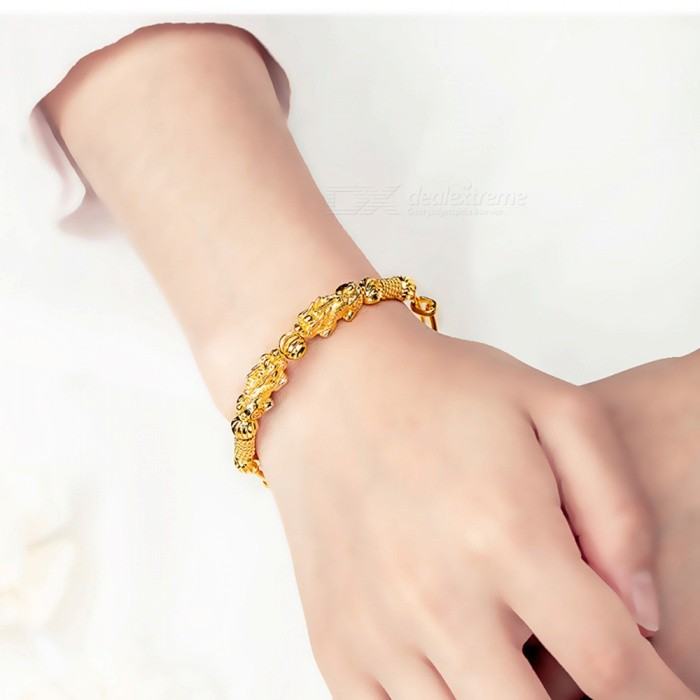 Buy XSUNI Copper Plated 18K Gold Vietnamese Shajin Bracelet - Gold with Litecoins with Free Shipping on Gipsybee.com