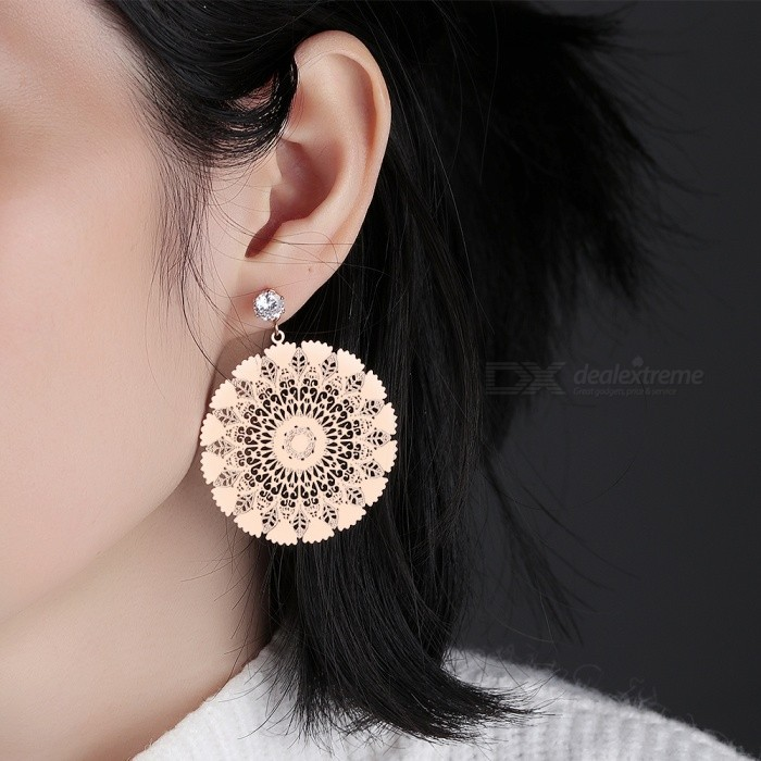 Buy XSUNI Temperament Peacock Screen Zircon Stud Earrings - Rose Gold with Litecoins with Free Shipping on Gipsybee.com