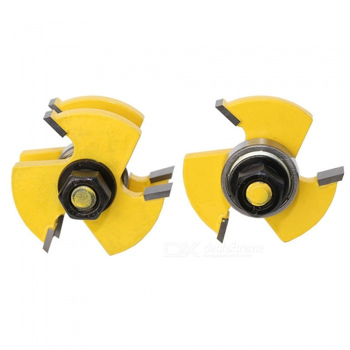 "2PCS Wood Milling Cutters Woodworking Cutting Knives 3 Teeth T-type Knife 1/4"" - Yellow"