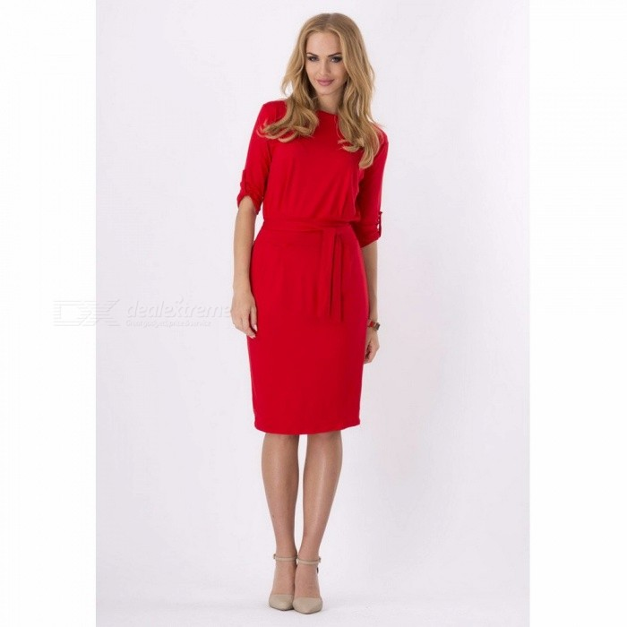 Summer Knee Length Dress Women Solid Casual Slim Waistband Dresses Female Three Quarter Sleeve O-Neck Elegant Vestido Burgundy/XXL for sale for the best price on Gipsybee.com.