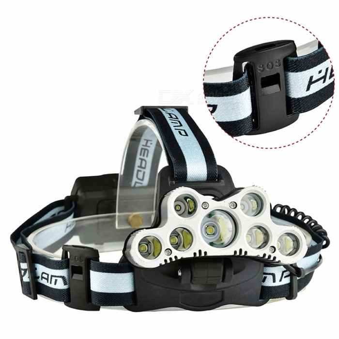 Buy Portable Super Bright 7-LED 5 X T6 2 X XPE 6-Mode USB Rechargeable Headlamp With SOS Function White/Gray with Litecoins with Free Shipping on Gipsybee.com