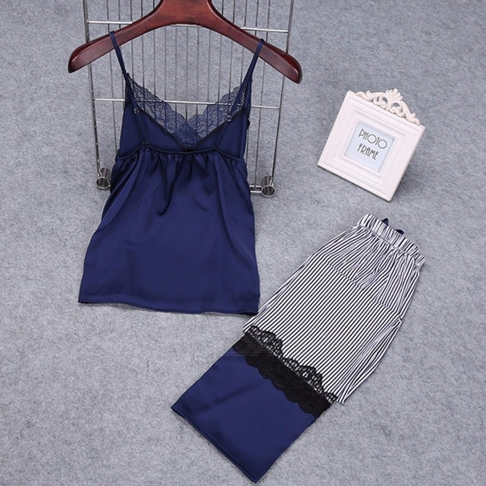 Long Stripe Pants Trousers + Lace Sling Top Two Piece Women Pajamas Set Women\'s Soft Cool Home Pajamas Summer Sleepwear Blue/XL for sale for the best price on Gipsybee.com.