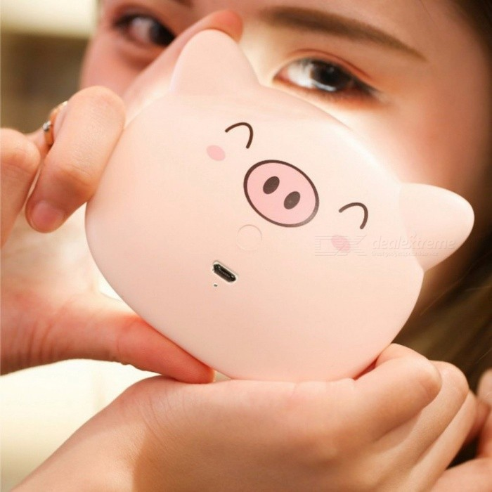 USB Charge Mirror Lamp Handheld Cosmetic Mirror Night Light Cute Pig Make-Up Mirror Rechargeable Mini Portable Women Pink/Natural Light
