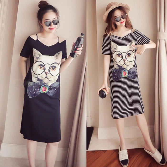 Women Clothing Summer Fashion Cat Print Rivet Decor Off-the-Shoulder Loose Cute Sweet Short-sleeve Dress For Female Gray/XXL for sale for the best price on Gipsybee.com.
