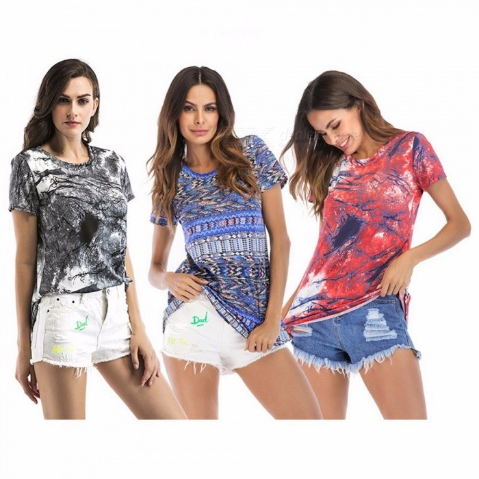 Buy Summer Printing Stretch Slim Large Size Women\'s Short-sleeved Shirt Tops Red/XXL with Litecoins with Free Shipping on Gipsybee.com