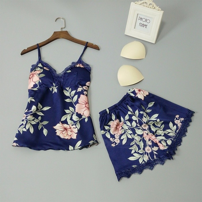 Buy Women Summer Sexy Pajamas Flower Printing Women\'s Summer Strap Top + Shorts Two-piece Set Home Set Pajamas Suit Pink/XXL with Litecoins with Free Shipping on Gipsybee.com