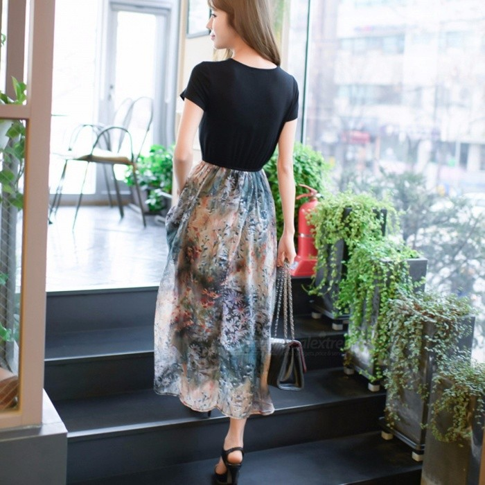 2-Piece Summer Women Lace Floral Long Dress, Round Neck High Waist Beach Maxi Sexy Slim Sundress Black/XL for sale for the best price on Gipsybee.com.