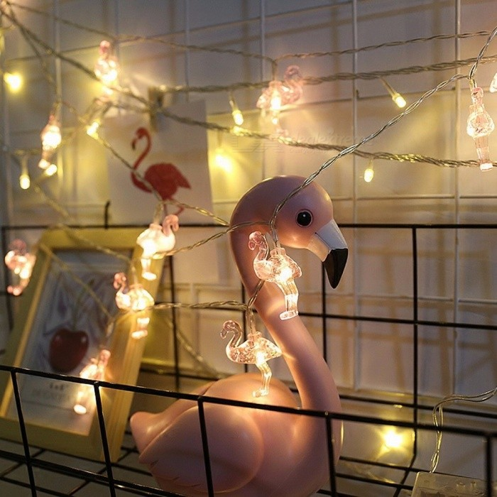 Mini Battery Powered 10m 80-LED Flamingo String Light For Baby Shower Bedroom, Home, Party DIY Decoration Warm White/0-5W