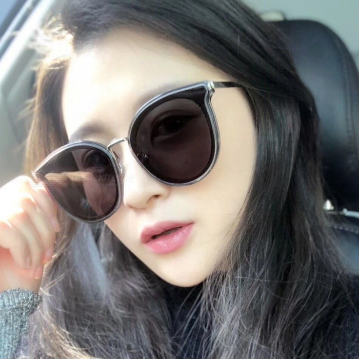 Buy Fashionable 5038 Transparent Gray Frame Gray Large Lens Shot Sunglasses with Litecoins with Free Shipping on Gipsybee.com