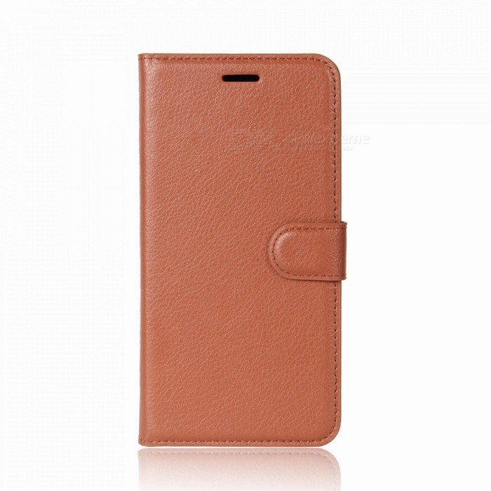 PU Leather Protective Flip-Open Full Cover Wallet Phone Case for DOOGEE MIX2 - Brown
