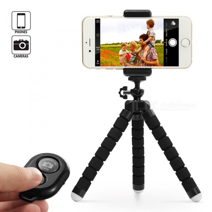 Mini Sponge Self-timer Tripod with Remote Control Digital Camera Mobile Phone Tripod - Black for sale in Bitcoin, Litecoin, Ethereum, Bitcoin Cash with the best price and Free Shipping on Gipsybee.com