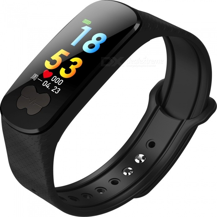 B37 Color Screen Smart Bracelet w Heart Rate Monitor, Blood Pressure ECG + PPG Test - Black