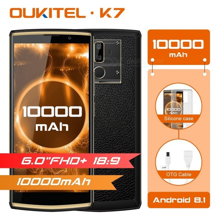 OUKITEL K7 MT6750T Octa-Core 18:9 Full Display 6.0'' FHD Mobile Phone w/ Android 8.1, 4GB RAM, 64GB ROM, 13MP Dual Cam - Black for sale for the best price on Gipsybee.com.
