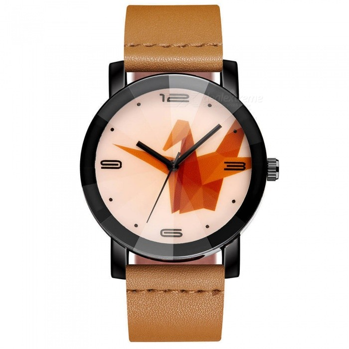 Buy Cooho C12 Men's Watch Fashion Simple Stylish Paper Crane Pattern Dial Quartz Wristwatch - Yellow with Litecoins with Free Shipping on Gipsybee.com