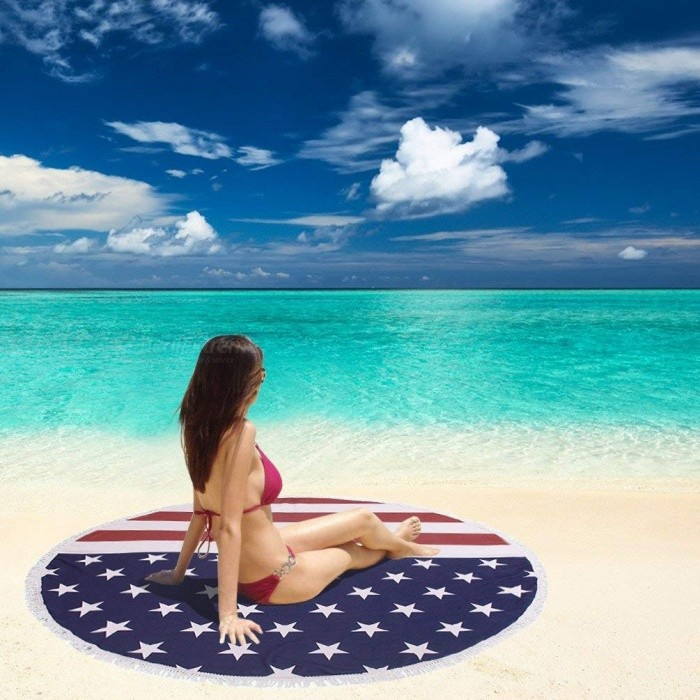 JEDX 150cm US Flag Printed Microfiber Summer Bath Towel Round Sand Beach Towel for Kids Adults Women
