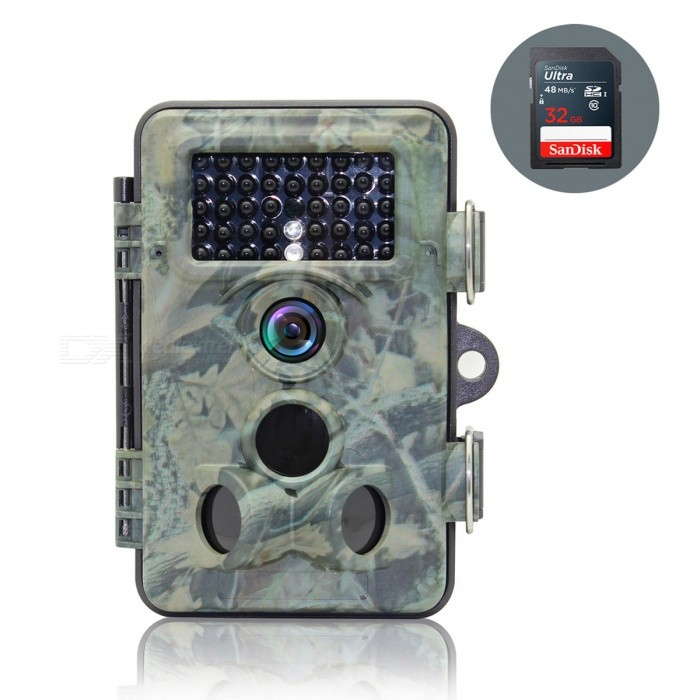 2.4'' TFT LCD 12MP IP66 Waterproof Hunting Camera + 32GB SD Card for Forest Wildlife Trail