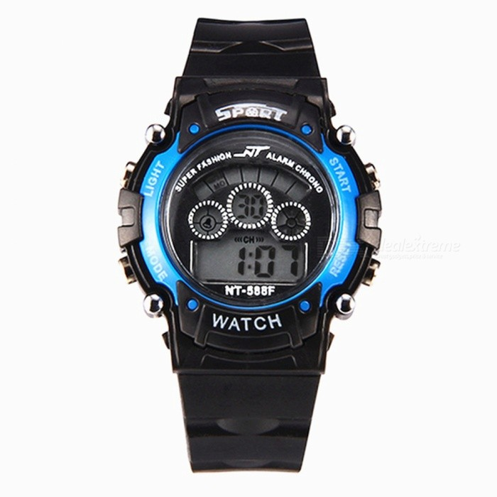 88F LED Nightlight 30M Waterproof Sport Rubber Watch w/ Alarm, Stopwatch, Date Display for Girl Student - Blue
