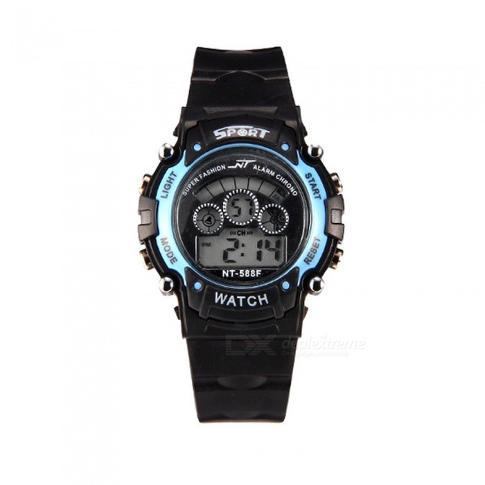 88F LED Nightlight 30M Waterproof Sport Rubber Watch w/ Alarm, Stopwatch, Date Display for Girl Student