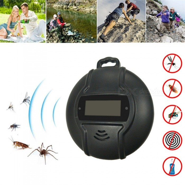 P-TOP Outdoor Portable Electronic Mosquito Repeller, Hook Type Pest Repeller, Solar Ultrasonic Mosquito Insect Killer - Black