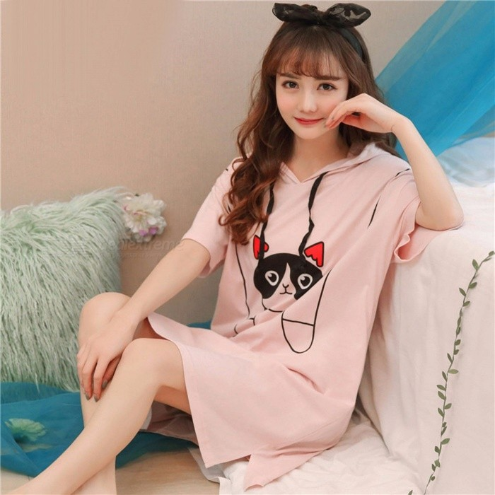Summer Women Cute Sexy Ladies Short Sleeved Nightdress Loose Sleeping Dress Sleepwear Home Clothes Pajamas Coral Red/XXL for sale for the best price on Gipsybee.com.